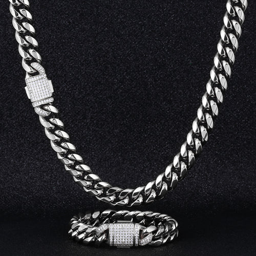 12mm Iced Miami Cuban Link Chain and bracelet set in White Gold-krkcom