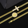 5.5mm Cross and Dollar Coin Miami Cuban Link Necklace