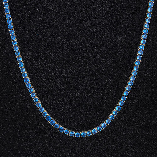 4mm Blue CZ Tennis Chain 14K Gold Plated-krkcom