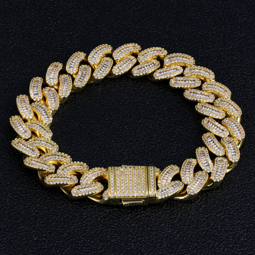 16mm Iced Baguette Cut Cuban Link Bracelet in 14K Gold-krkcom