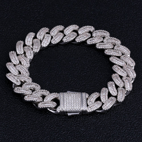 16mm Iced Baguette Cut Cuban Link Bracelet in White Gold-krkcom