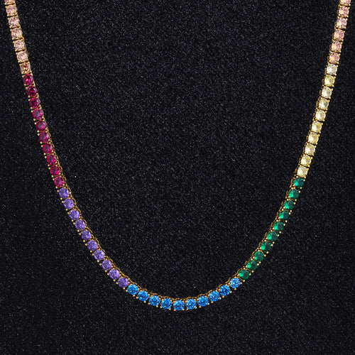 4mm Spectrum Rainbow Tennis Chain in 14K Gold-krkcom