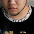 16mm Iced Baguette Cut Cuban Choker Chain in White Gold-krkcom