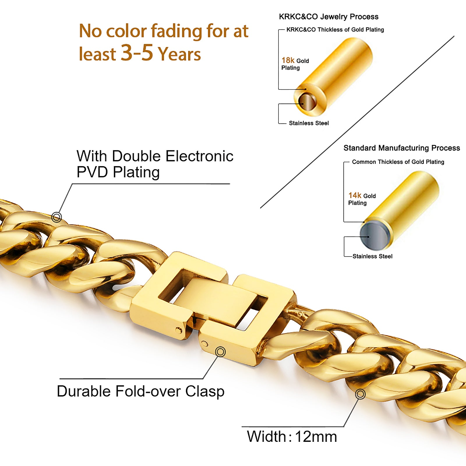 12mm Miami Cuban Link Chain in 18K Gold for Men's Chain-BOGO KRKC