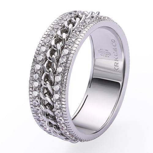 Iced Cuban Link Rotating Ring in White Gold