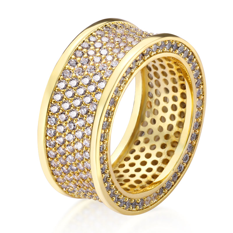Iced Infinity Ring 14K Gold Plated-krkcom