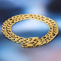 7mm 18K Gold Stainless Steel Figaro Chain Set For Men-krkcom