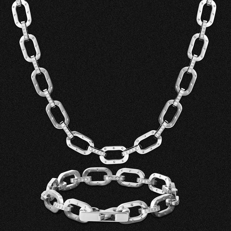 10mm Iced Cable Chain and Bracelet Set-KRKC&CO