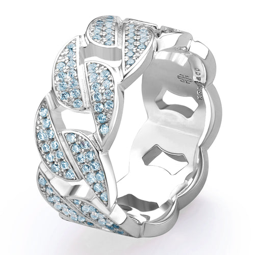 Iced Cuban Link Ring With Blue CZ in White Gold