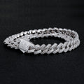 12mm Iced Prong Link Cuban Link Chain and Bracelet Set White Gold Plated-krkcom