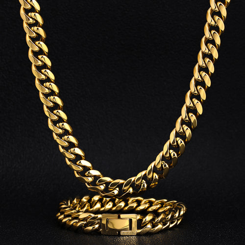 10mm Miami Cuban Link Chain and bracelet set 18K Gold Plated-krkcom