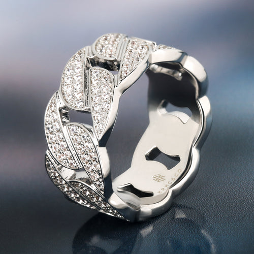 White Gold Iced Out Cuban Link Ring-krkcom