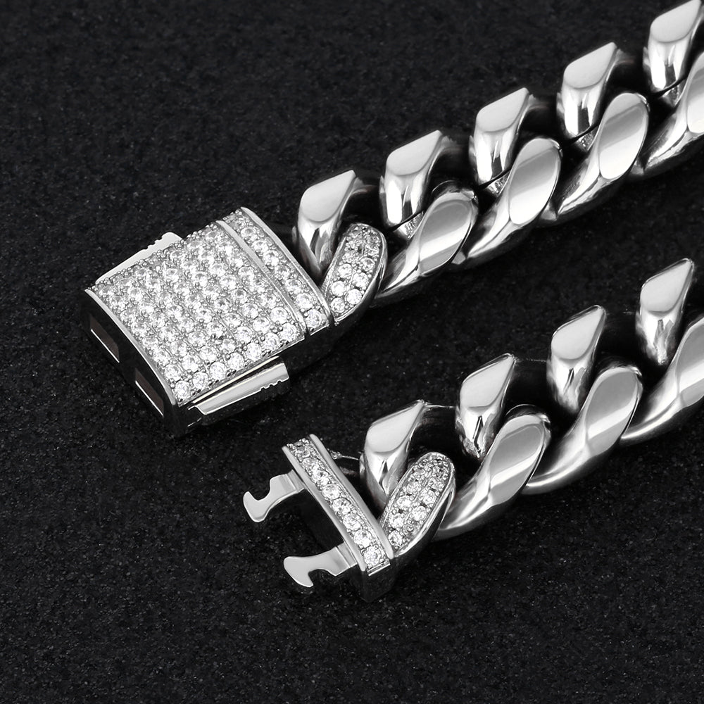 12mm Iced Out Box Clasp Miami Cuban Link Bracelet in White Gold