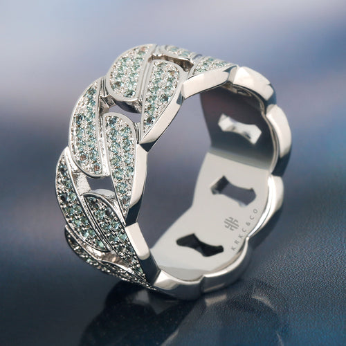 White Gold Iced Out Cuban Link Ring With Blue CZ-krkcom