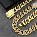 12mm Box Clasp Iced Cuban Chain and bracelet Set 14K Gold Plated