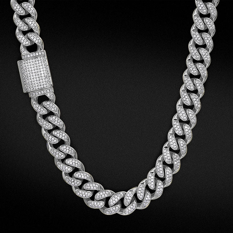 12mm Box Clasp Iced Cuban Link Chain White Gold Plated