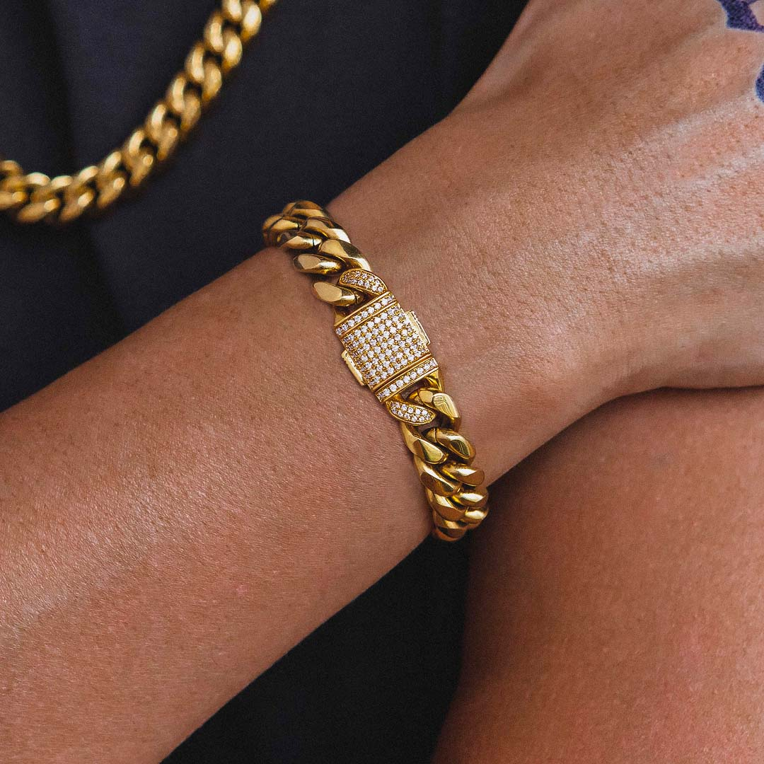 12mm Iced Out Box Clasp Miami Cuban Link Bracelet in 18K Gold - BOGO KRKC