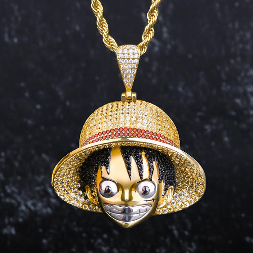 14K Gold CZ Monkey D. Luffy Pendant Necklace-krkcom