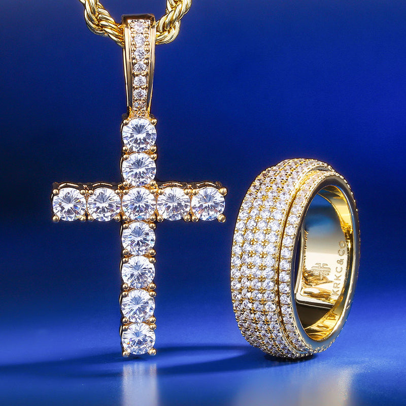 14K Gold Cross Pendant and 14K Gold Rotating Ring Set-krkcom