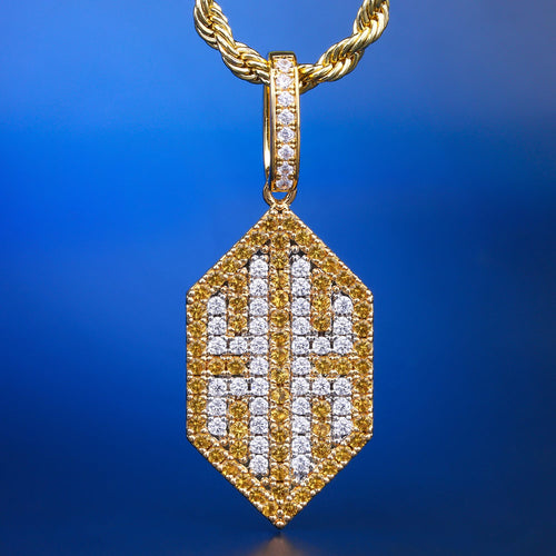 14K Gold Fully Iced Out KRKC Brand Pendant Necklace-krkcom