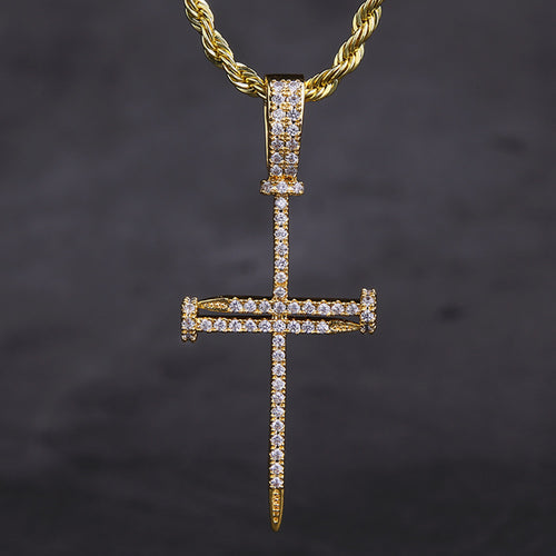 14K Gold Ice Out Mens Nail Cross Pendant Necklace-krkcom