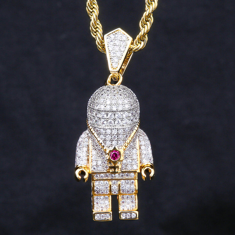 14K Gold Iced Out Astronaut Pendant-krkcom