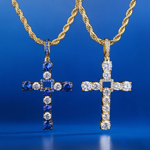 14K Gold Iced Out Swing Cross Pendant Set-krkcom