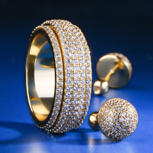 14K Gold Iced Out Rotating Ring and Button Earrings Set-krkcom
