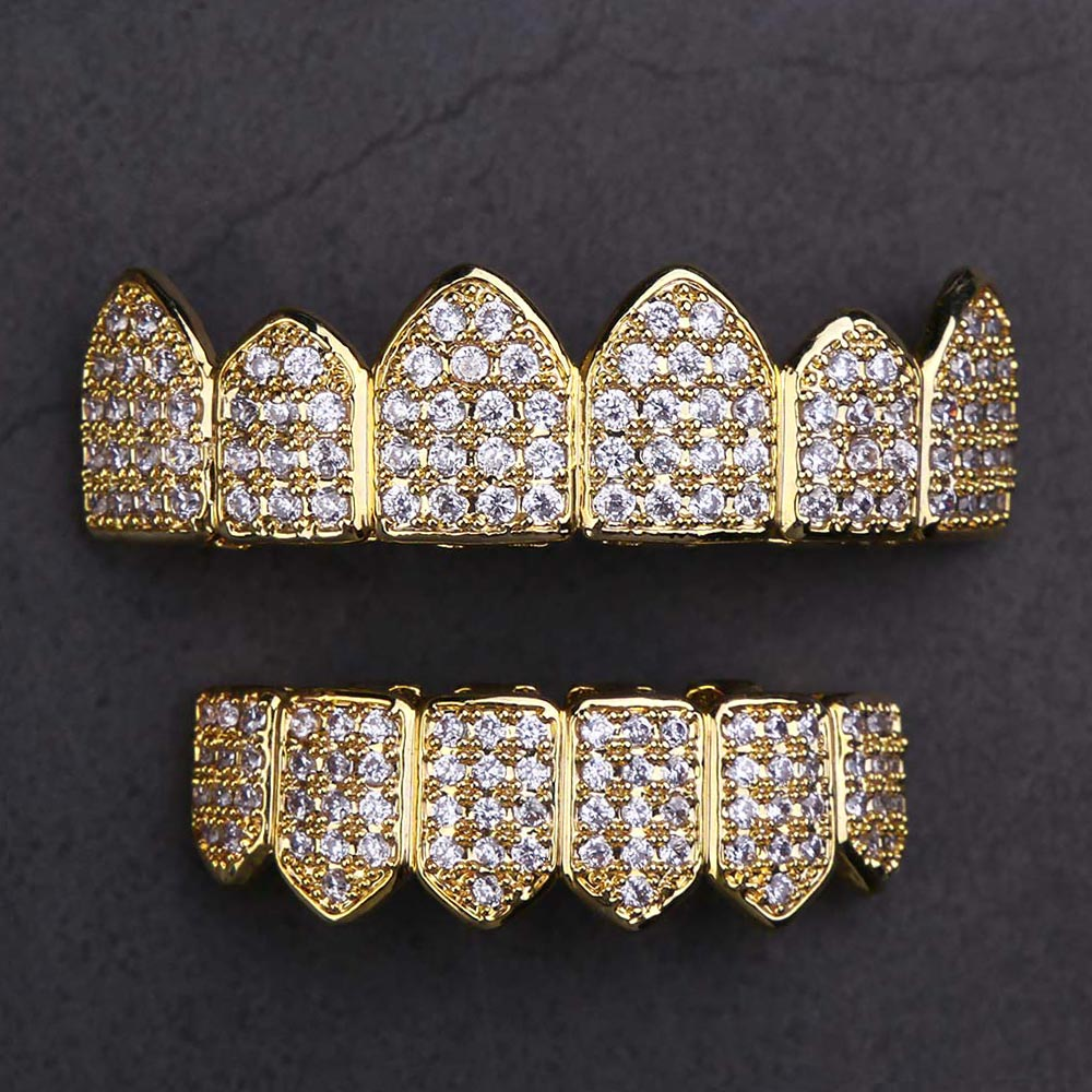 Micro Pave CZ Grillz Teeth Set in 14k Gold