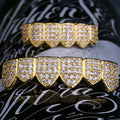14K Gold Micro Pave CZ Grillz Teeth Set-krkcom
