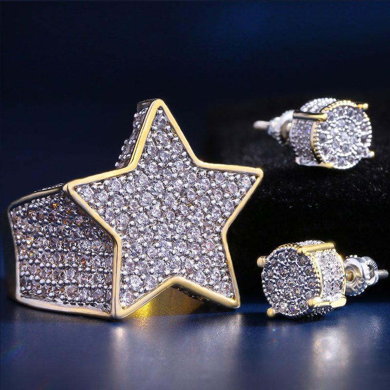 Iced Star Ring and Stud Earrings Set 14K Gold Plated-krkcom