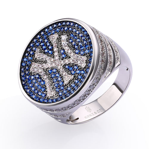Custom Iced New York Yankees World Champions Ring in White Gold