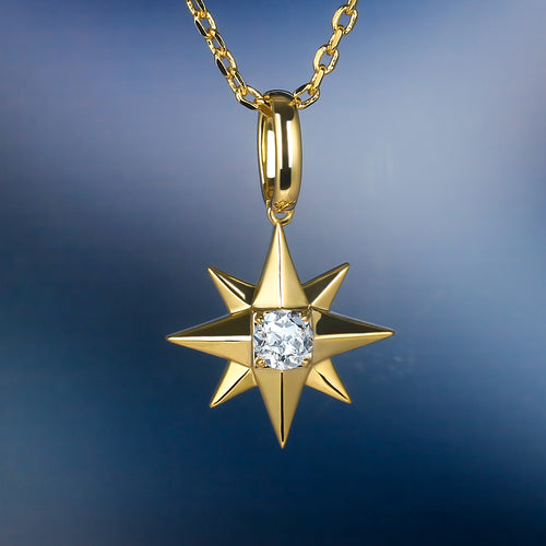 14K Gold Iced Out Six-Point Star Pendant Necklace-krkcom