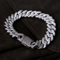 15mm White Gold Iced Out Diamond-Cut Cuban Link Bracelet-krkcom