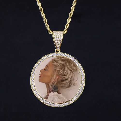 14K Gold Iced Custom Photo Pendant-krkcom