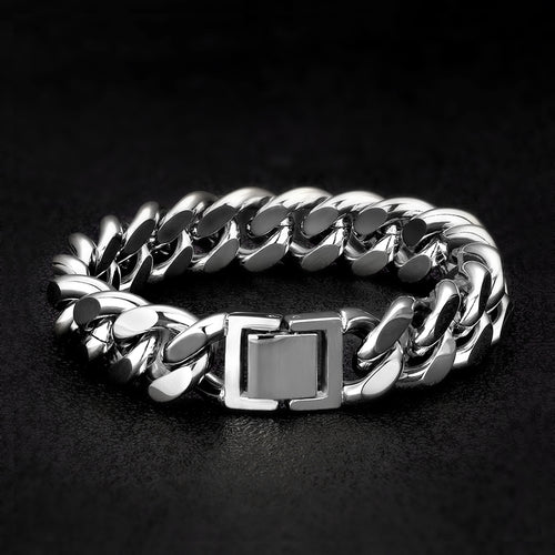 14mm Miami Cuban Link Bracelet White Gold Plated-krkcom