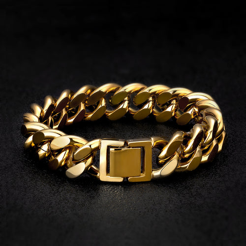14mm Miami Cuban Link Bracelet 14K Gold Plated-krkcom