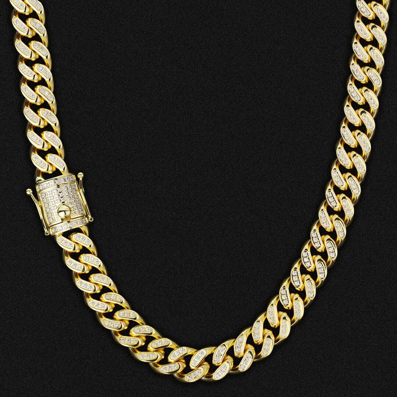 14mm Iced Cuban Link Chain 14K Gold Plated