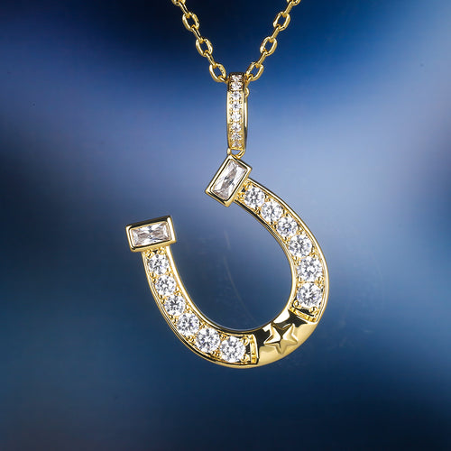 14K Gold Iced Out Horseshoe Pendant Necklace-krkcom