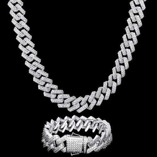 15mm Iced Prong Link Cuban Chain and Bracelet Set White Gold Plated-krkcom