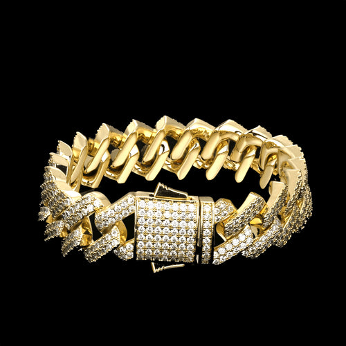 15mm Iced Prong Link Cuban Link Bracelet 14K Gold Plated-krkcom