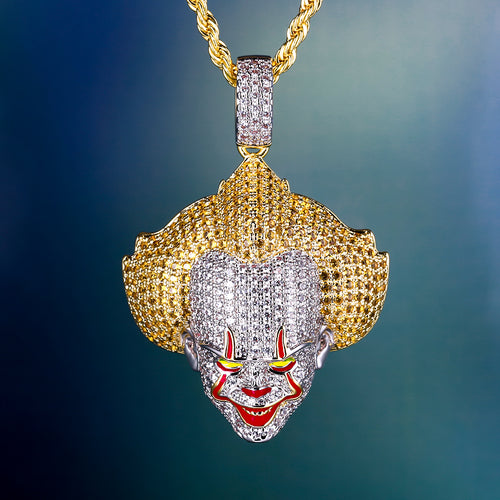Iced Evil Clown Pendant 14K Gold Plated-krkcom