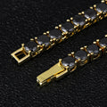 4mm Black Tennis Chain and Bracelet Set 14K Gold Plated-krkcom