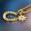 Iced Six-Point Star And Horseshoe Pendant 14K Gold Plated-krkcom