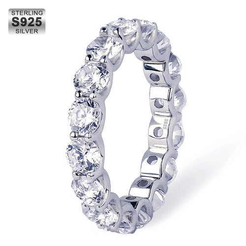 925 Sterling Silver Iced Single-Row CZ Ring in White Gold