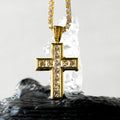 Princess Cut Cross Pendant 14K Gold Plated-krkcom