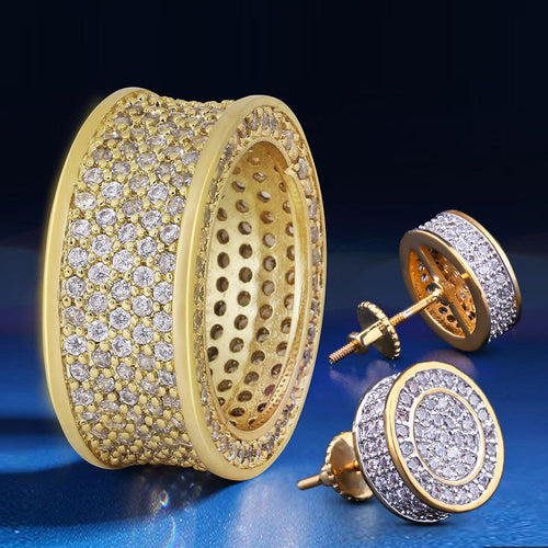 14K Gold Iced Out Infinity Ring and Round Earrings Set-krkcom