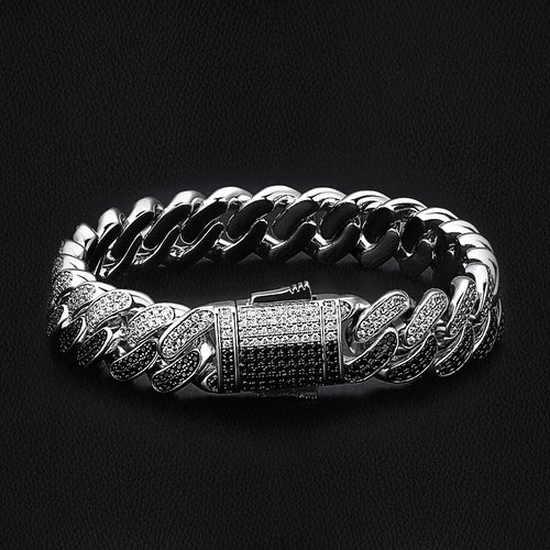 12mm Iced Two Tone Cuban Link Bracelet Black and White-krkcom