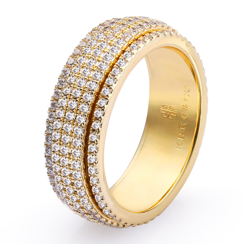 Fully Iced Rotating Ring 14K Gold Plated-krkcom
