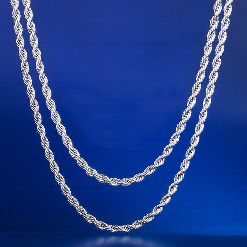 "3mm White Gold Rope Chain Set (22""+24"")-krkcom"